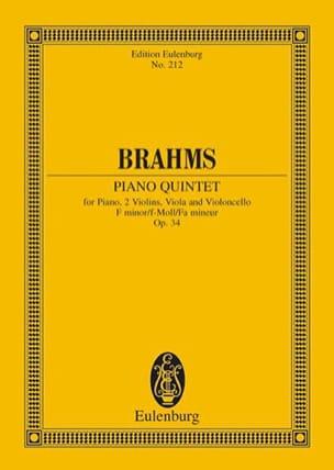 Klavier-Quintett F-Moll, Op. 34 BRAHMS Partition laflutedepan