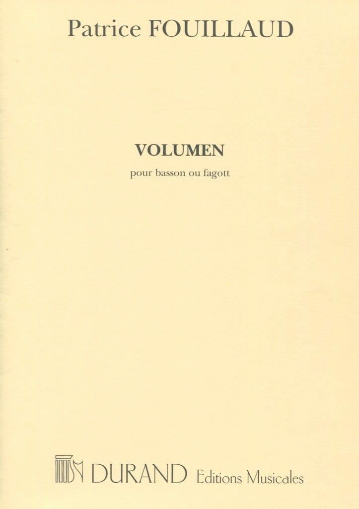 Volumen - Patrice Fouillaud - Partition - Basson - laflutedepan.com