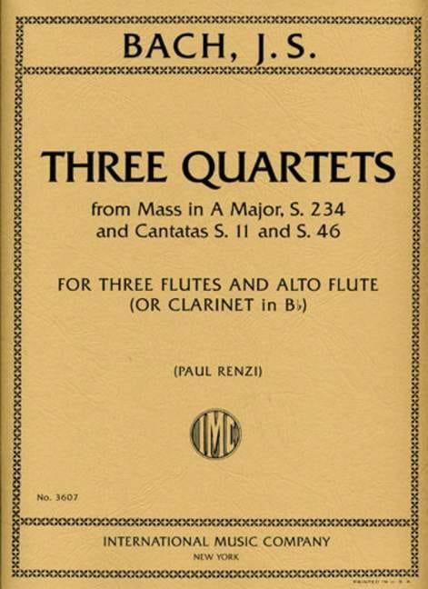 3 Quartets - BACH - Partition - Flûte traversière - laflutedepan.com
