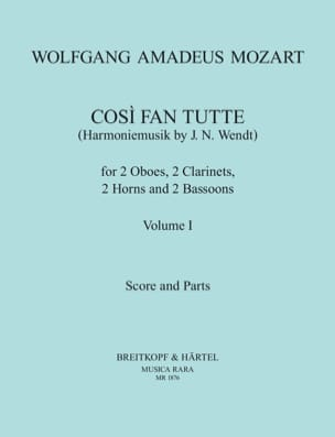 Cosi Fan Tutte Volume 1 -harmoniemusik - Score + Parts laflutedepan