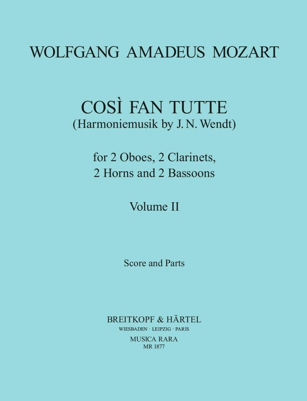 Cosi Fan Tutte Volume 2 -Harmoniemusik - Score + Parts - laflutedepan.com