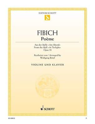 Poème Op.39 - Zdenko Fibich - Partition - Violon - laflutedepan.com