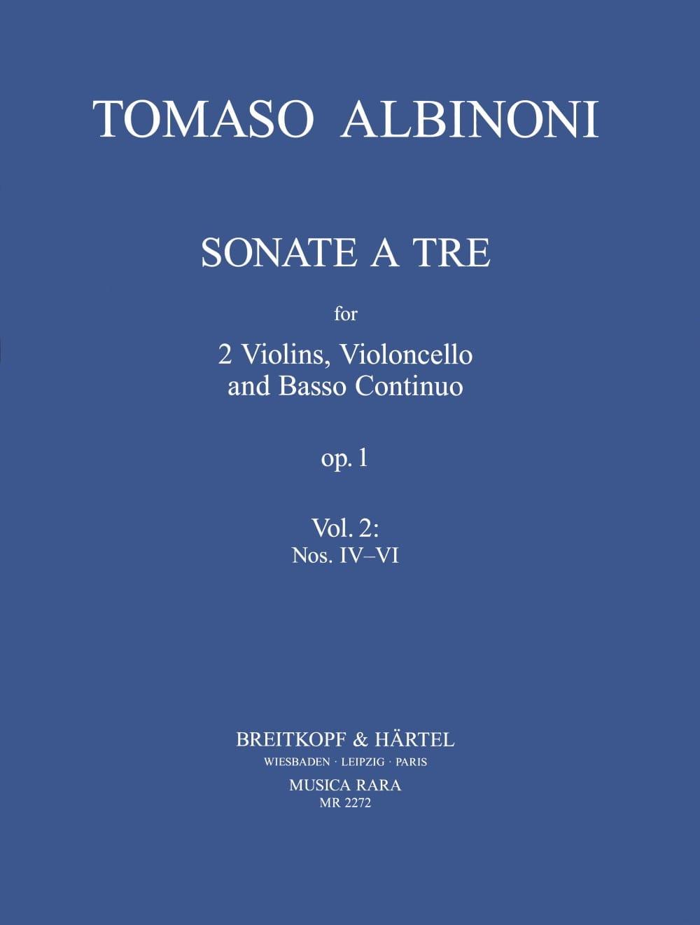 3 Sonatas from op. 1 n° 4-6 -Parts - ALBINONI - laflutedepan.com