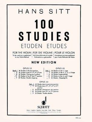 100 Etudes op. 32 - Cahier 1 Hans Sitt Partition Violon - laflutedepan