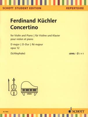 Ferdinand Küchler - Concertino, op. 12 - Violon et Piano - Partition - di-arezzo.fr