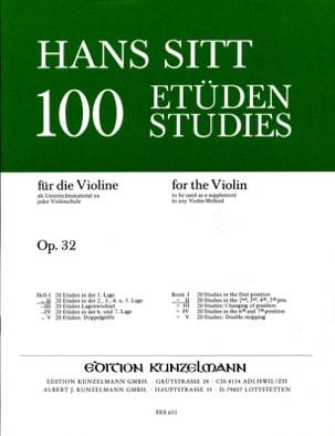 100 Etudes op. 32 - Cahier 2 Hans Sitt Partition Violon - laflutedepan