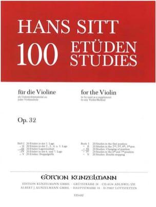 100 Etudes op. 32 - Cahier 3 Hans Sitt Partition Violon - laflutedepan