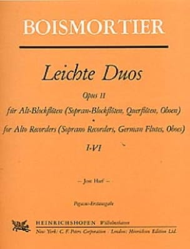 Leichte Duos Op. 11- Flûte A Bec Alto - BOISMORTIER - laflutedepan.com
