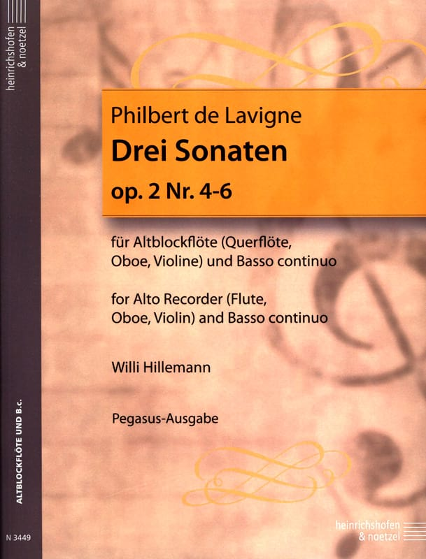 3 Sonaten op. 2 - Nr. 4-6 - Altblockflöte u. Bc - laflutedepan.com