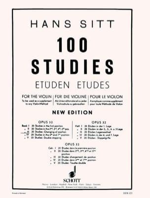 100 Etüden op. 32 - Cahier 3 Hans Sitt Partition Violon - laflutedepan
