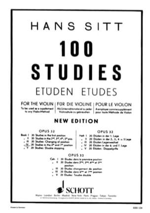100 Etudes op. 32 - Cahier 4 Hans Sitt Partition Violon - laflutedepan