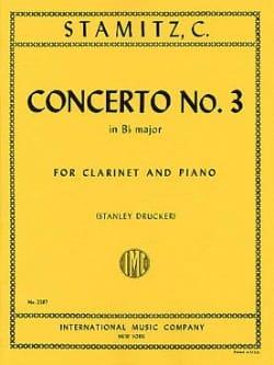 Concerto n° 3 Bb major -Clarinet piano STAMITZ Partition laflutedepan