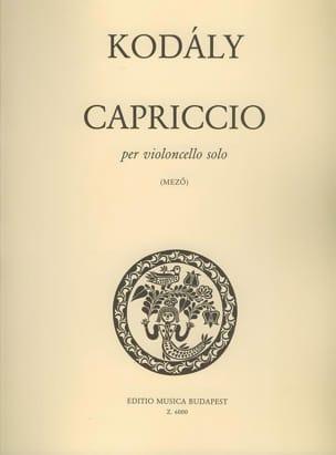 Capriccio KODALY Partition Violoncelle - laflutedepan