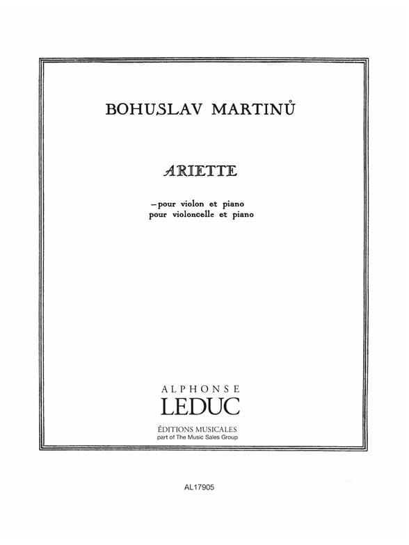 Ariette - MARTINU - Partition - Violon - laflutedepan.com