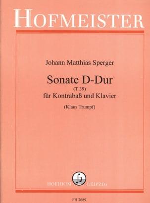 Sonate D-Dur T 39 Johann Matthias Sperger Partition laflutedepan
