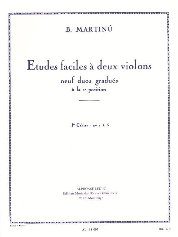 Etudes faciles à 2 violons - Volume 1 - MARTINU - laflutedepan.com
