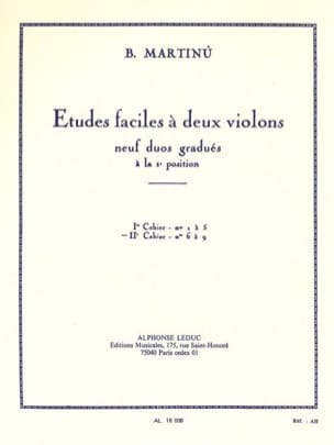 Etudes faciles à 2 violons - Volume 2 MARTINU Partition laflutedepan