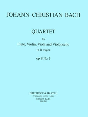 Quartet op. 8 n° 2 -Flute violin viola cello - Parts laflutedepan