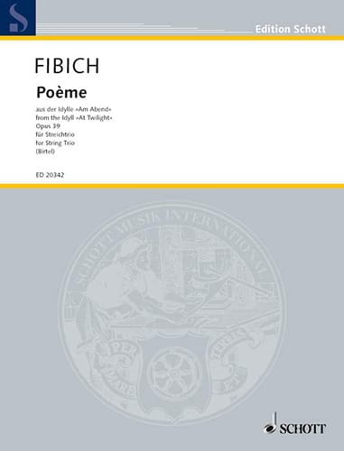 Poème Op.39 trio - Zdenek Fibich - Partition - laflutedepan.com