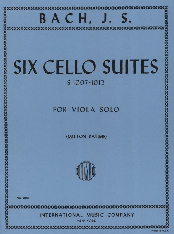 6 Suites Pour Violoncelle Transcrites Pour Alto BWV 1007-1012 Katims - laflutedepan.com