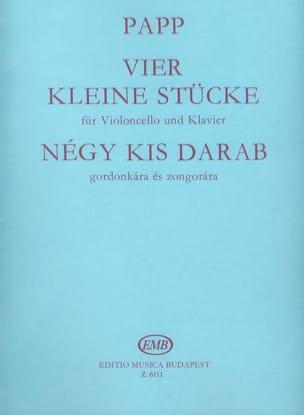 4 kleine Stücke Lajos Papp Partition Violoncelle - laflutedepan