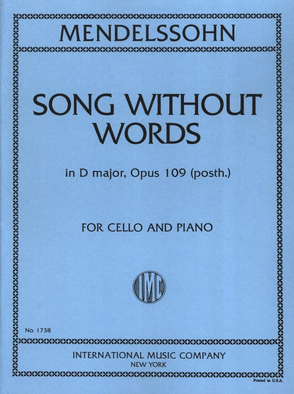 Song without words in D Major op. 109 posth. - laflutedepan.com