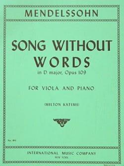 Song without words in D major op.109 posth MENDELSSOHN laflutedepan