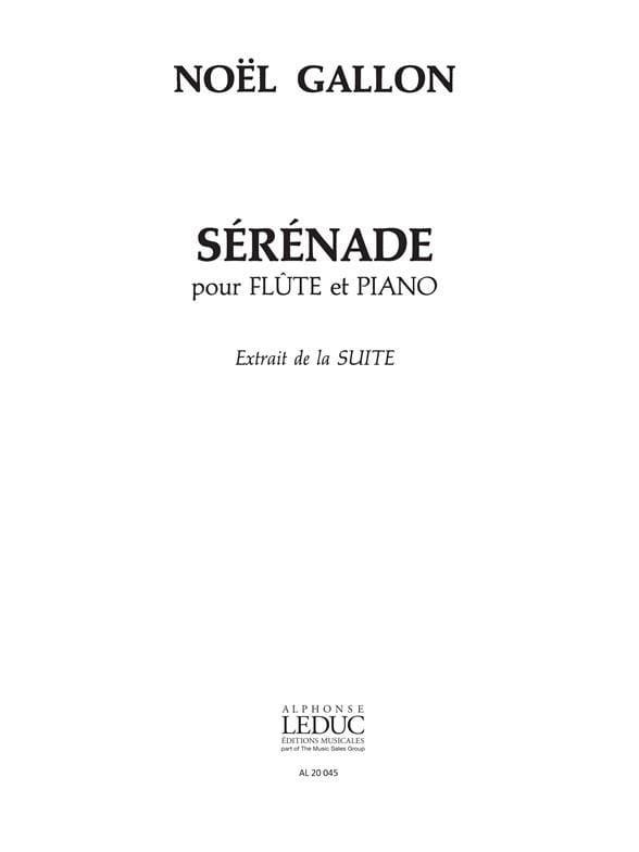 Suite pour flûte et piano - Noël Gallon - Partition - laflutedepan.com