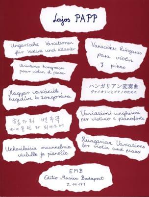 Variations hongroises Lajos Papp Partition Violon - laflutedepan