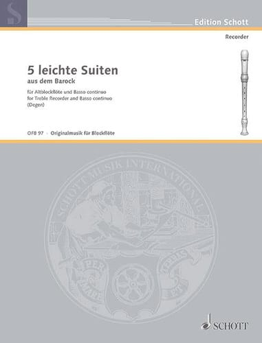 5 Leichte Suiten - Altblockflöte u. Bc - laflutedepan.com