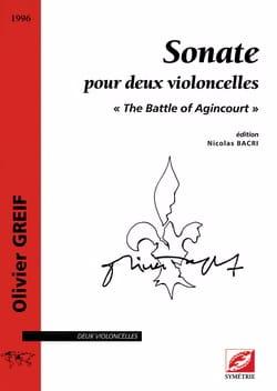 Sonate pour 2 Violoncelles Olivier Greif Partition laflutedepan