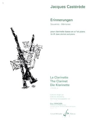 Erinnerungen Jacques Castérède Partition Clarinette - laflutedepan