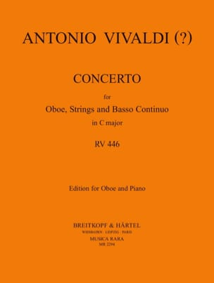 Concerto In C Major Rv 446 VIVALDI Partition Hautbois - laflutedepan
