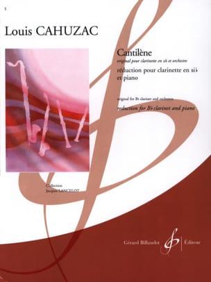 Cantilène Louis Cahuzac Partition Clarinette - laflutedepan