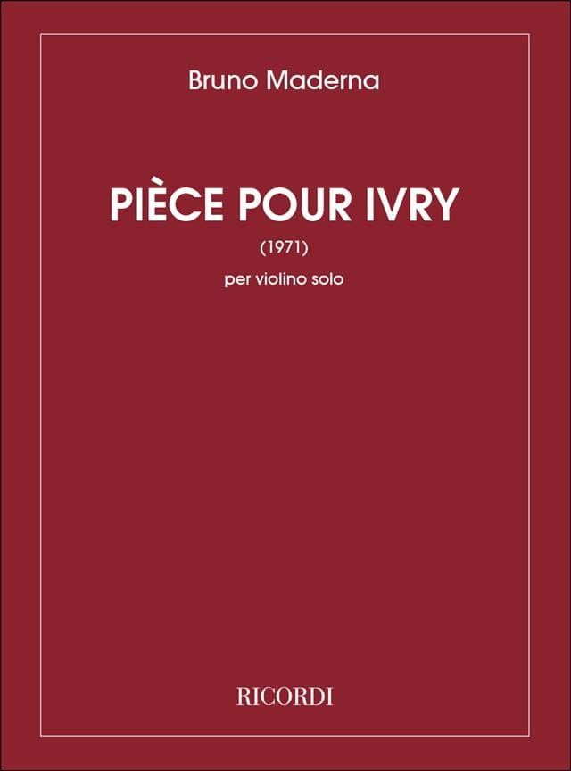 Pièce pour Ivry 1971 - Bruno Maderna - Partition - laflutedepan.com