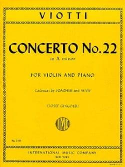 Giovanni Battista Viotti - Concerto No. 22 in A minor - Partition - di-arezzo.com