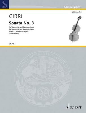 Sonate n° 3 en fa majeur Giambattista Cirri Partition laflutedepan