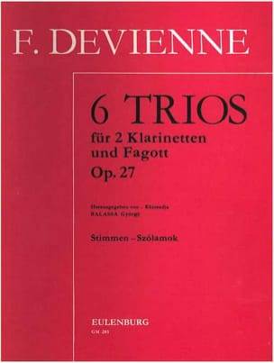 6 Trios op. 27 -2 Klarinetten Fagott - Stimmen DEVIENNE laflutedepan