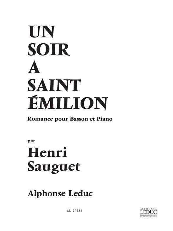 Un soir à Saint Emilion - Henri Sauguet - Partition - laflutedepan.com