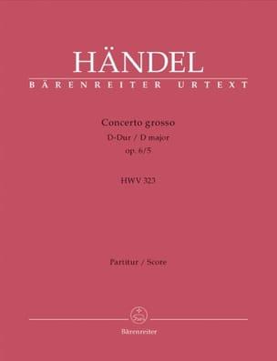 Concerto Grosso D-Dur op. 6/5 - Partitur - HAENDEL - laflutedepan.com
