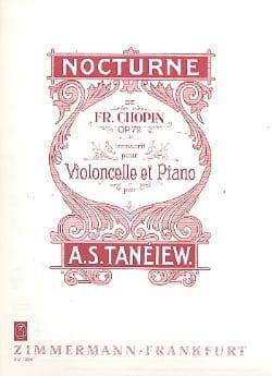 Nocturne Op. 72 CHOPIN Partition Violoncelle - laflutedepan