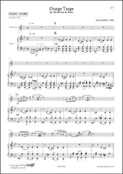 Orange Tango Alain Lopez Partition Clarinette - laflutedepan