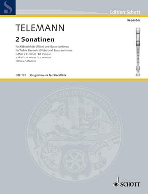 2 Sonatinen - Altblockflöte u. Bc TELEMANN Partition laflutedepan