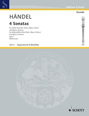 4 Sonaten aus op. 1 - Altblockflöte u. Bc HAENDEL laflutedepan