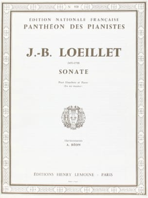 Sonate mi majeur - Hautbois LOEILLET Partition Hautbois - laflutedepan