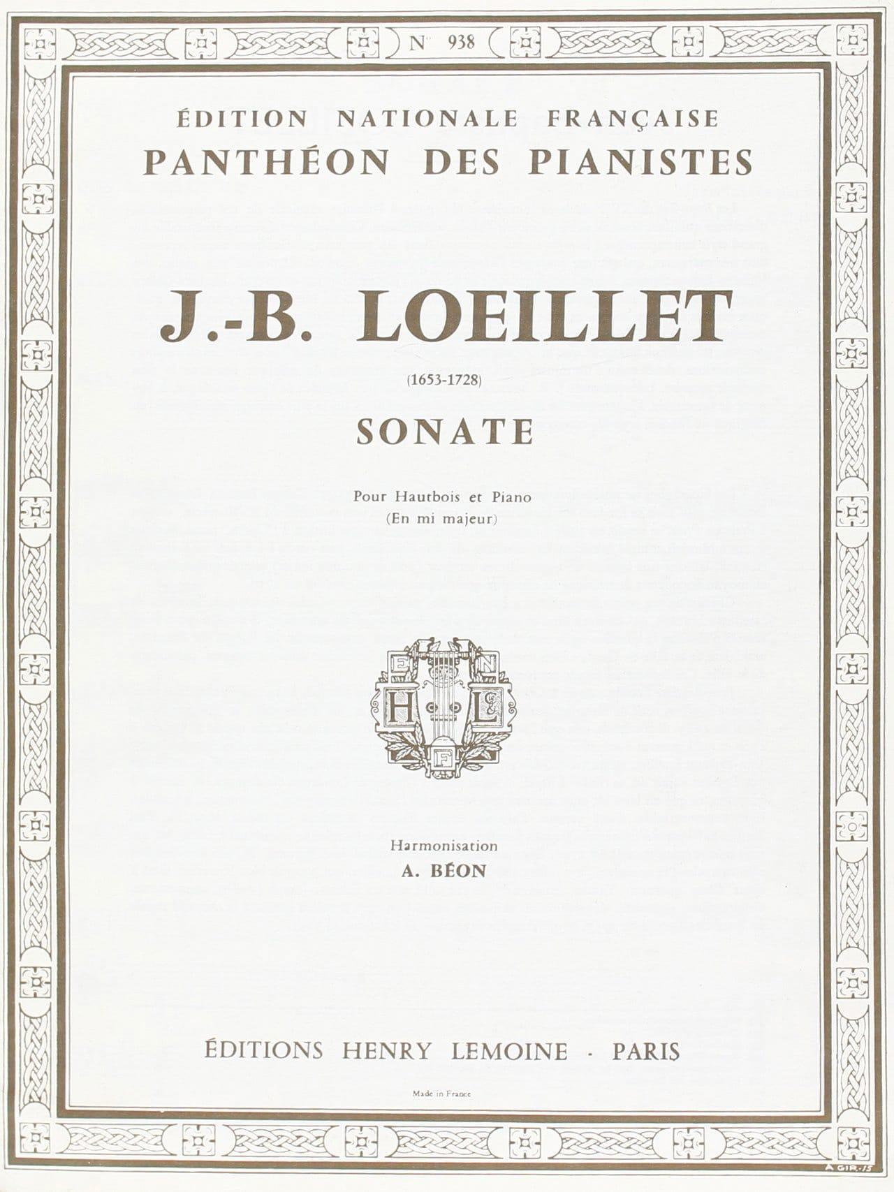 Sonate mi majeur - Hautbois - LOEILLET - Partition - laflutedepan.com