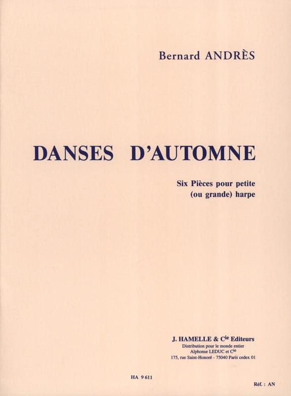 Danses d'Automne - Harpe - Bernard Andrès - laflutedepan.be