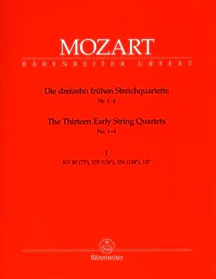 les 13 premiers quatuors à cordes, cahier 1 KV 80,155,156,157 - parties instru laflutedepan