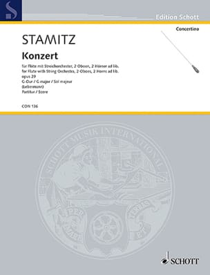 Flöten-Konzert G-Dur op. 29 - Partitur STAMITZ Partition laflutedepan