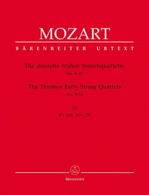 MOZART - 13 Frühe Streichquartette, Heft 3 KV 168-170 - Stimmen - Partition - di-arezzo.com